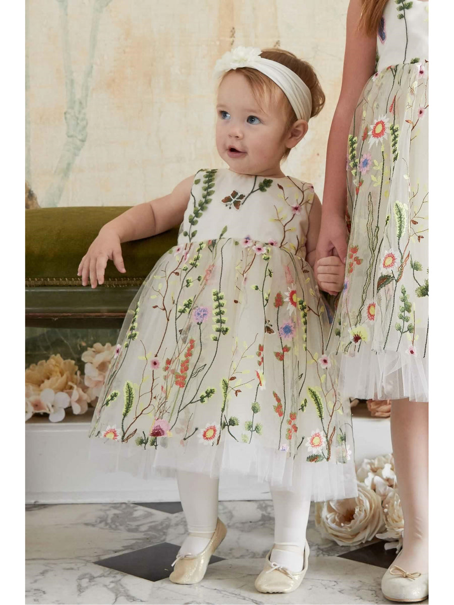 Little Girls Embroidered Vines Dress