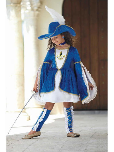 Miss Musketeer Costume For Girls  blu alt1