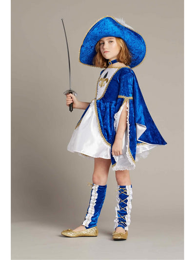 Miss Musketeer Costume For Girls  blu alt2