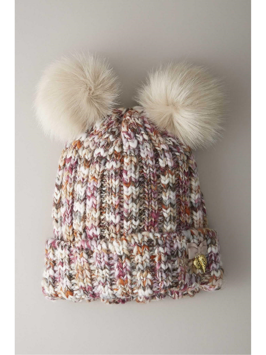 Multicolored Pompom Hat