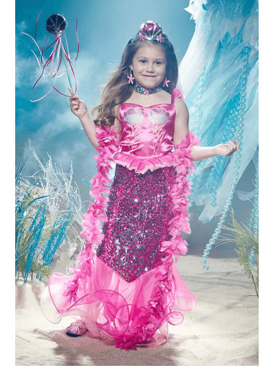 Pink Fairytale Mermaid Costume For Girls  pin alt1