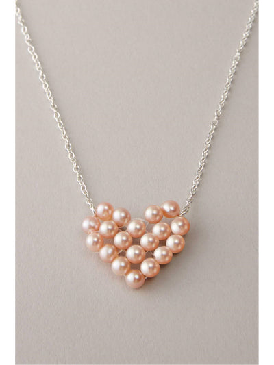 Pink Pearl Heart Necklace  pin alt1