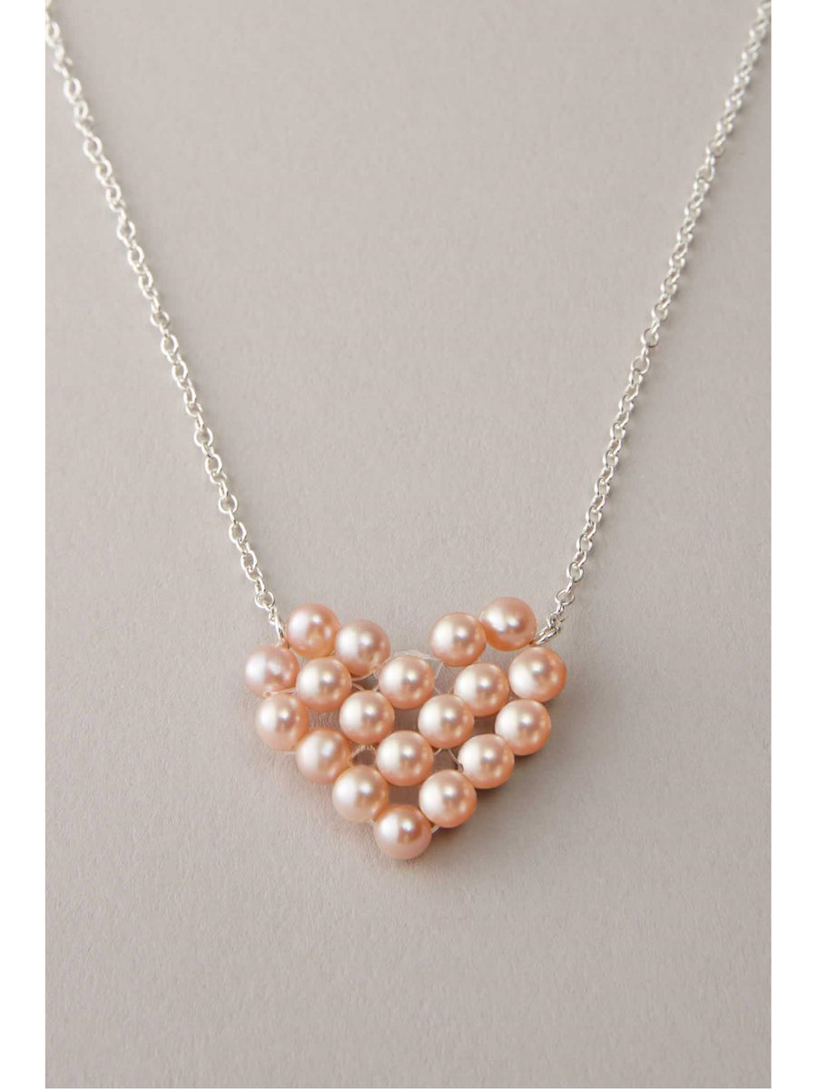 Pink Pearl Heart Necklace