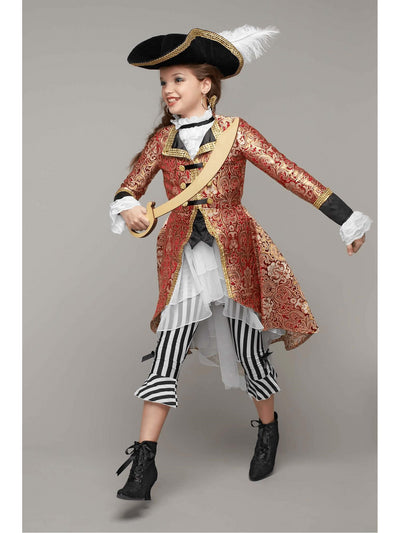 Pirate Captain Costume For Girls  red 1