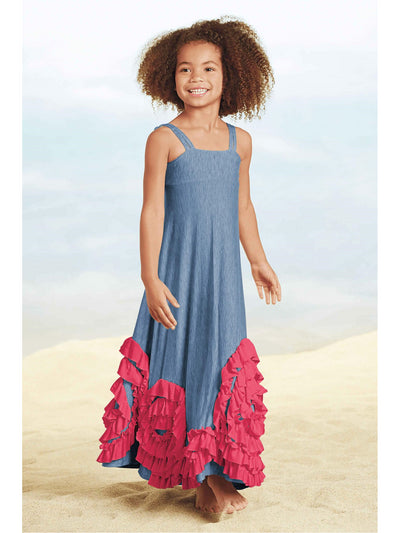 Pixie Girl Multi Swirly Ruffles Maxi Dress  chb alt1