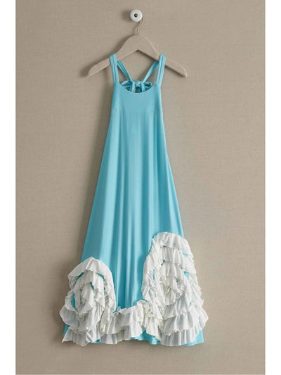 Pixie Girl Swirly Ruffles Maxi Dress