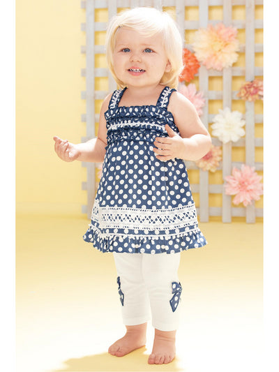 Polka Dot Bow Leggings for Baby  whbl alt1
