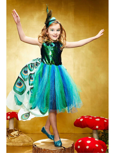 Pretty Peacock Costume for Girls  blu alt1