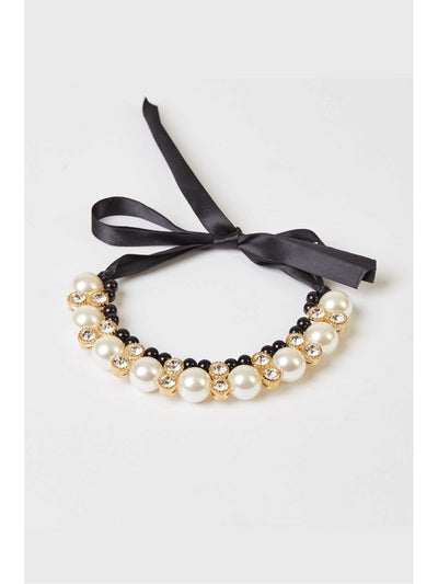 Girls Pretty Pearl & Rhinestone Collar