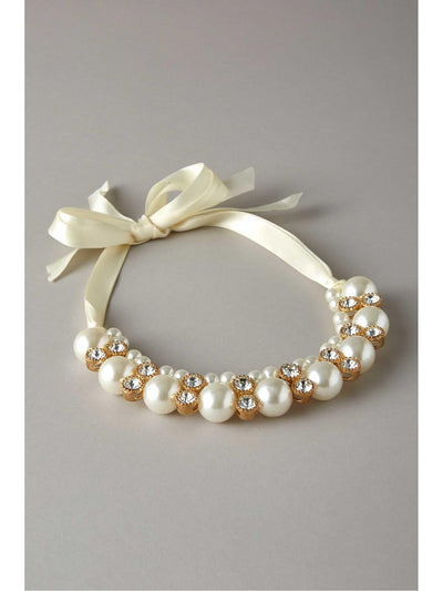 Girls Pretty Pearl & Rhinestone Collar  nc 1