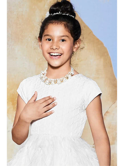 Girls Pretty Pearl & Rhinestone Collar  nc alt1