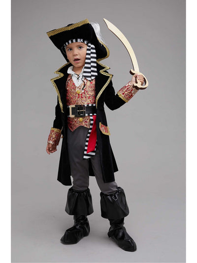 Red Brocade Pirate Captain Costume for Boys