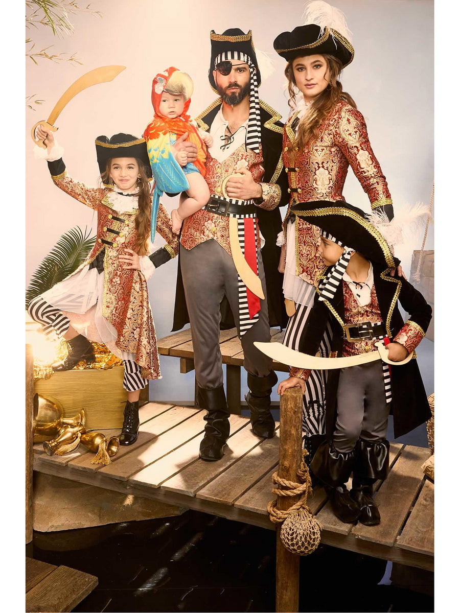Red Brocade Pirate Costume for Men