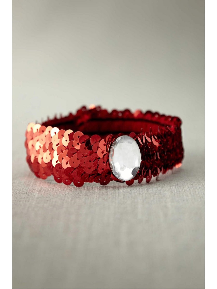 Red Sequin Choker With Clear Stone