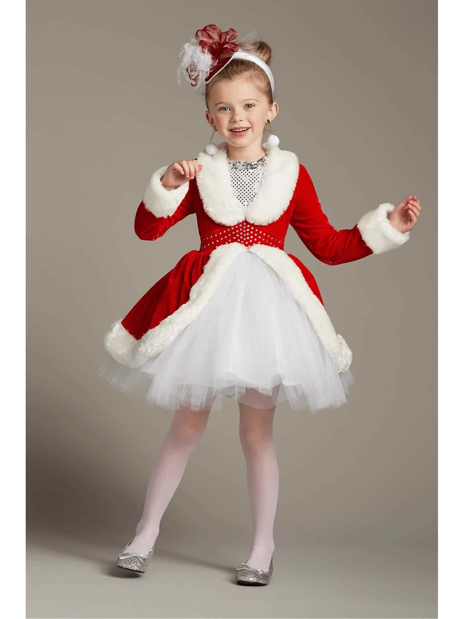Child Medium Red Christmas Rockette Dance Costume with Arm Mitts!