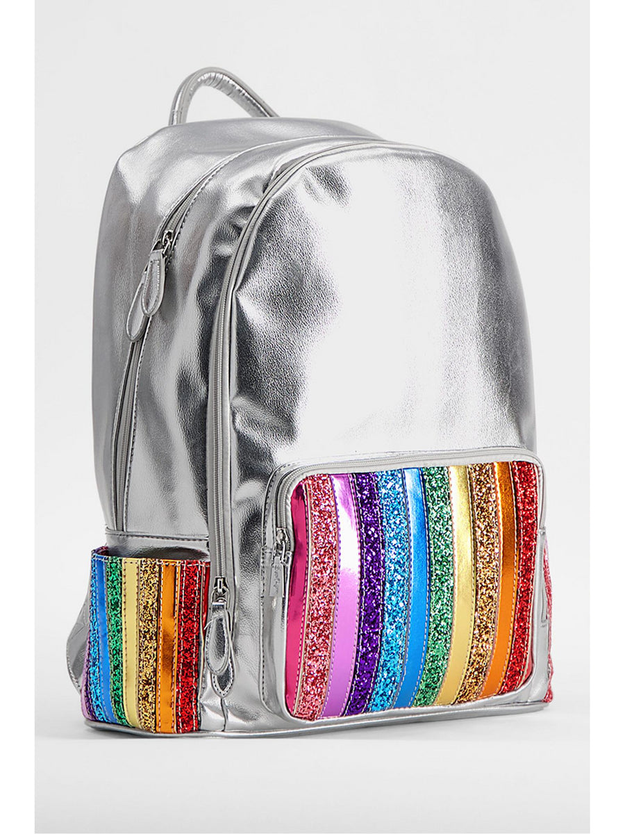 Silver & Rainbow Glitter Backpack