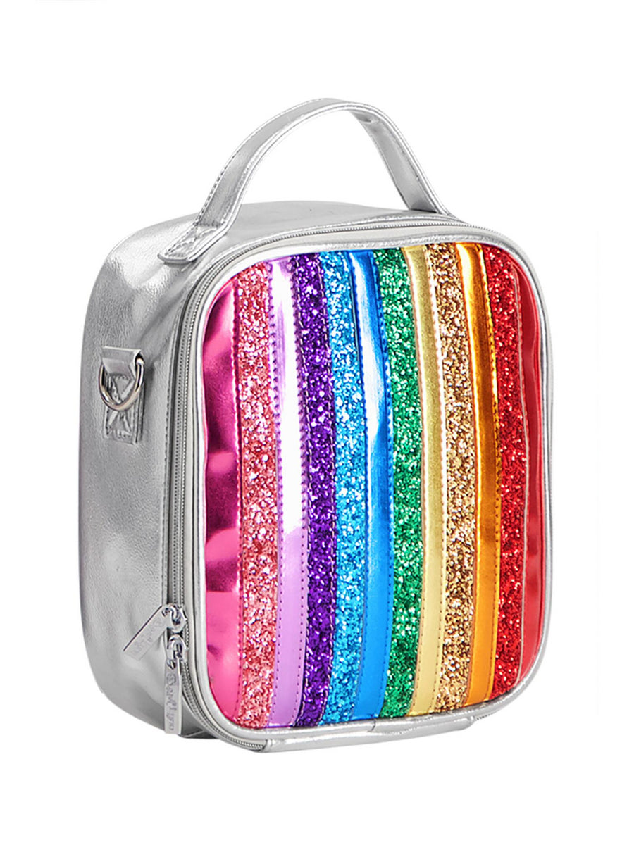 Silver & Rainbow Glitter Lunch Bag