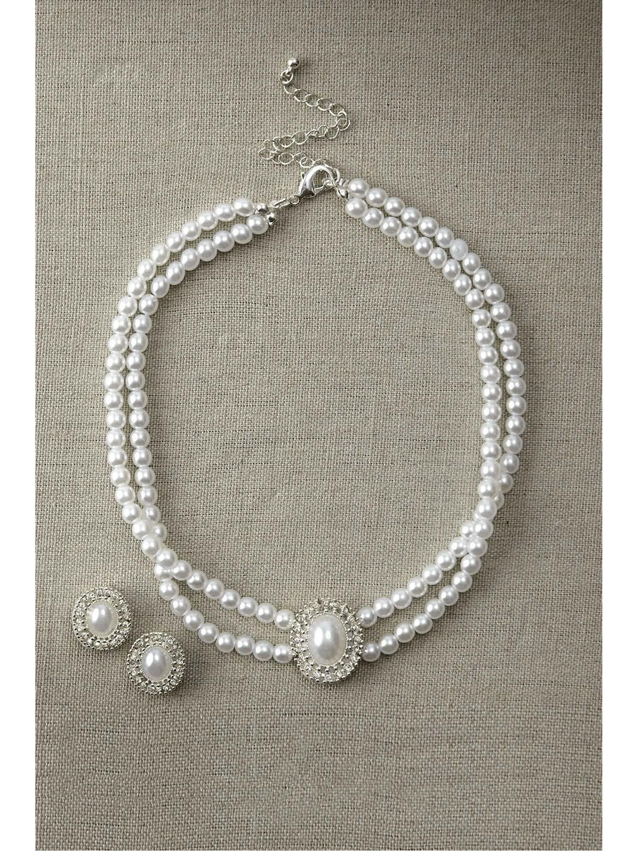 Silver Pearl Necklace & Earrings Set