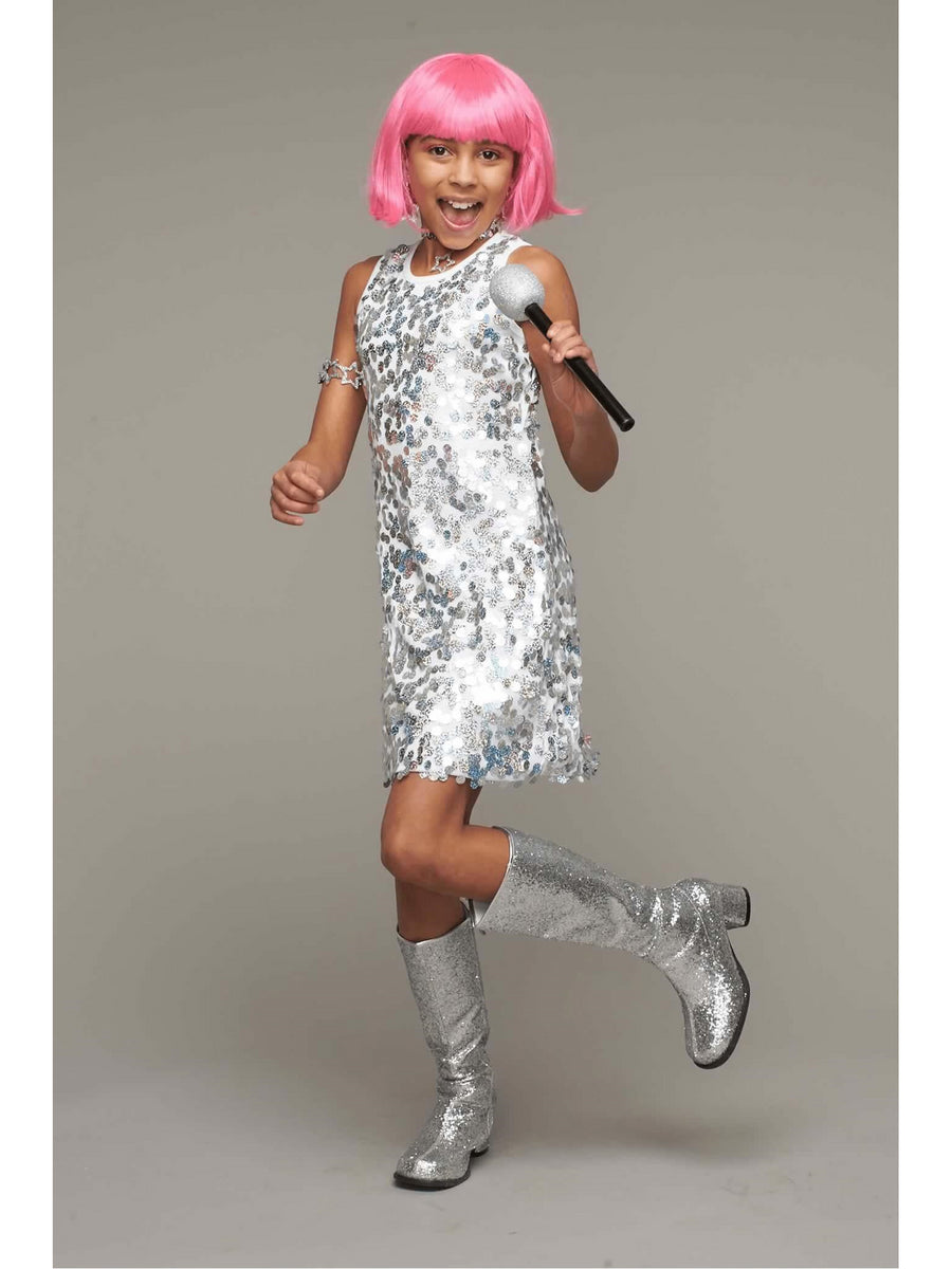 Silver Pop Star Costume for Girls