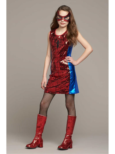 Spider-Girl Sequin Dress Costume for Girls  red 1