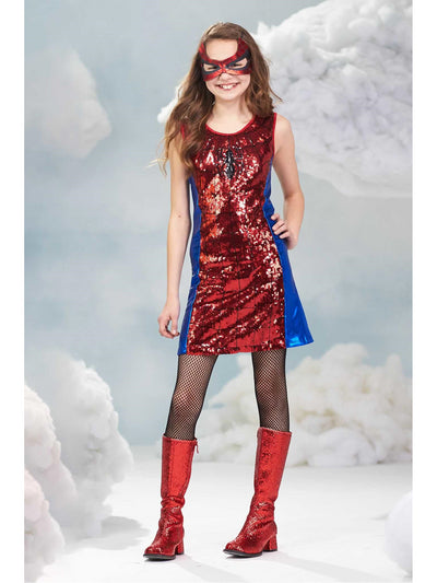 Spider-Girl Sequin Dress Costume for Girls  red alt2