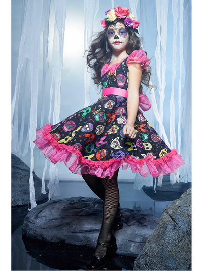 Sugar Skull Sweetie Costume for Girls  pin alt1
