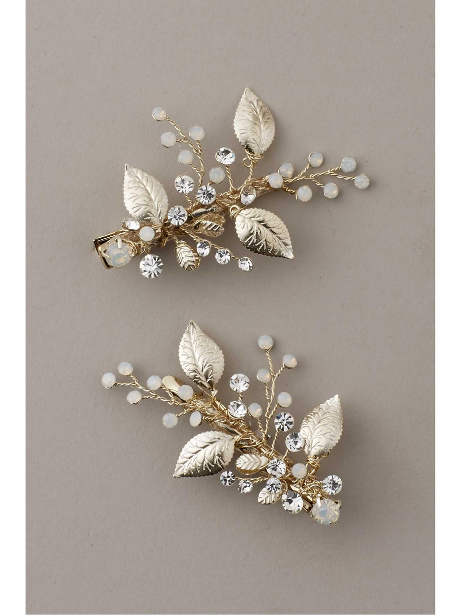 Girls Swarovski® Crystal & Gold Leaves Hairclip Set
