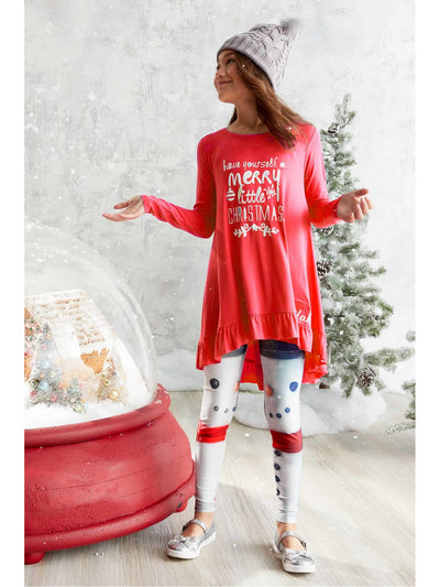 Girls Terez Build a Snowman Leggings  whi alt1