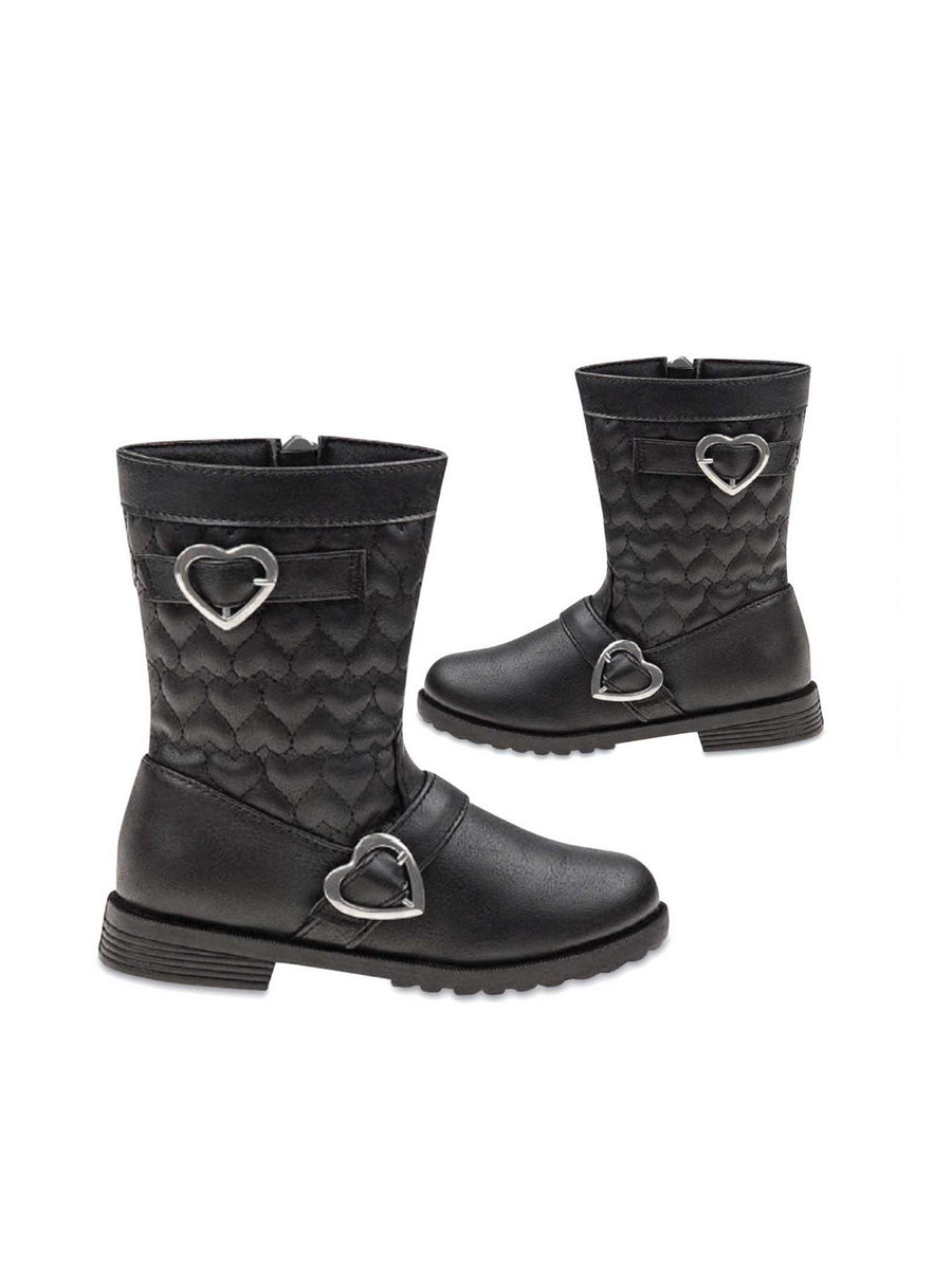 Toddlers Heart Buckle Quilted Boots