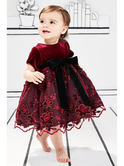 Velvet & Embroidered Lace Dress for Baby