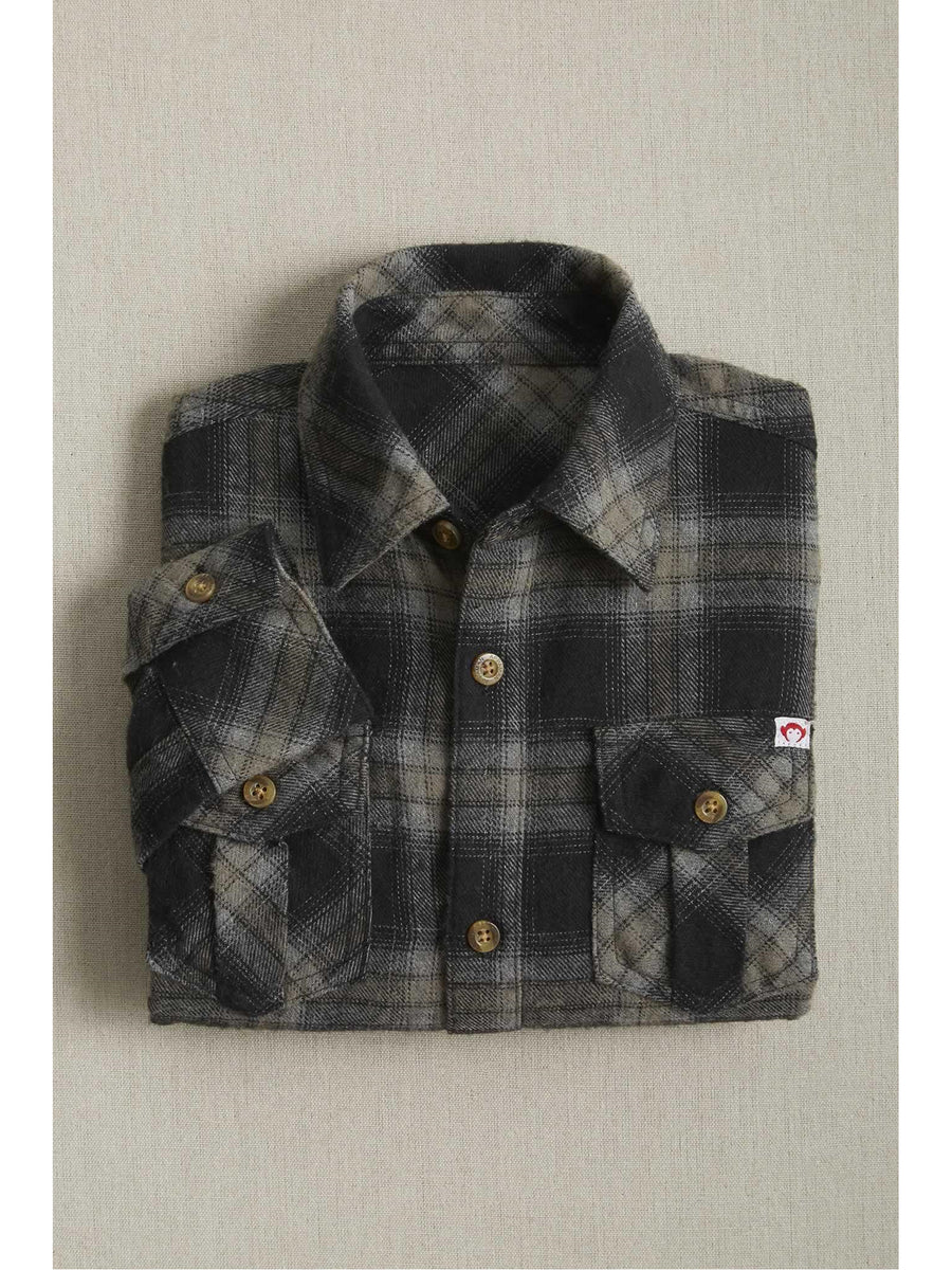 Vintage Black Plaid Flannel Shirt