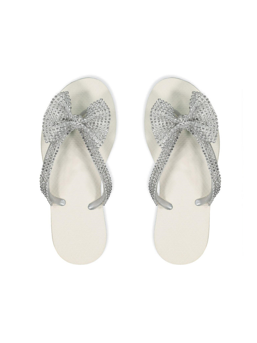 Womens Crystal Bow Flip-Flops