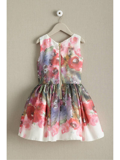 Zoe Peony Girls Dress  whi alt2