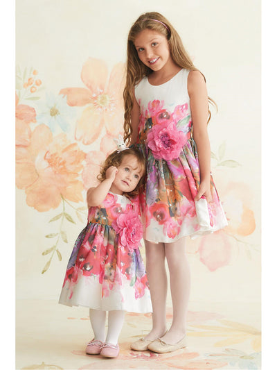 Zoe Peony Girls Dress  whi alt3
