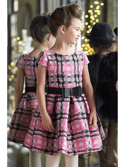 Zoe Pretty In Pink Plaid Girls Dress  hpi alt1