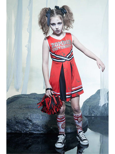 Zombie Cheerleader Costume for Girls  red alt1