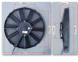 "SPAL 14"" Fan straight blade pusher 1263cfm"
