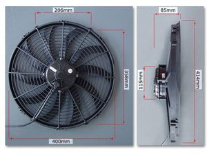 "SPAL 16"" Fan Paddle Blade Extreme Performance 2224cfm 24-Volt"