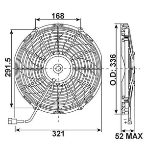 "SPAL 12"" Fan skew blade 909cfm 52mm deep"