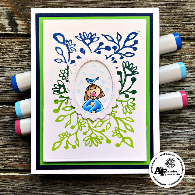 Clean and Simple: Birdie Girlie with Botanical ArtFoamie Background