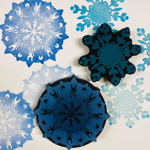 Red Tin Roof | Snowflakes | Foam Stamps - Set of 2