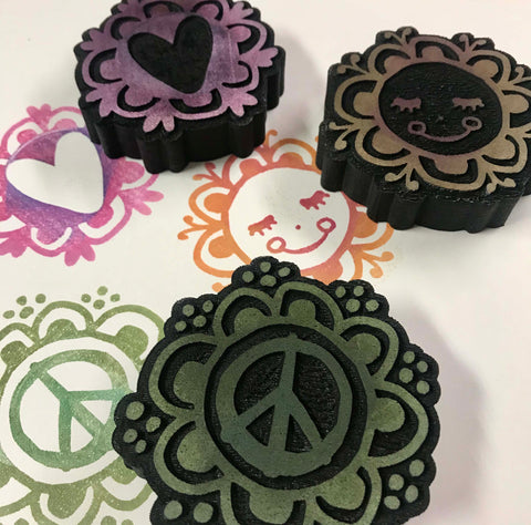 Kae Pea | Peace Love Happiness | Foam Stamps - Set of 3