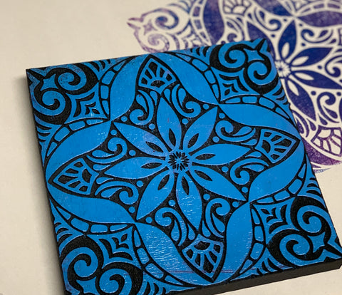 Marta Harvey | Large Floral Tile (Positive) | Foam Stamp