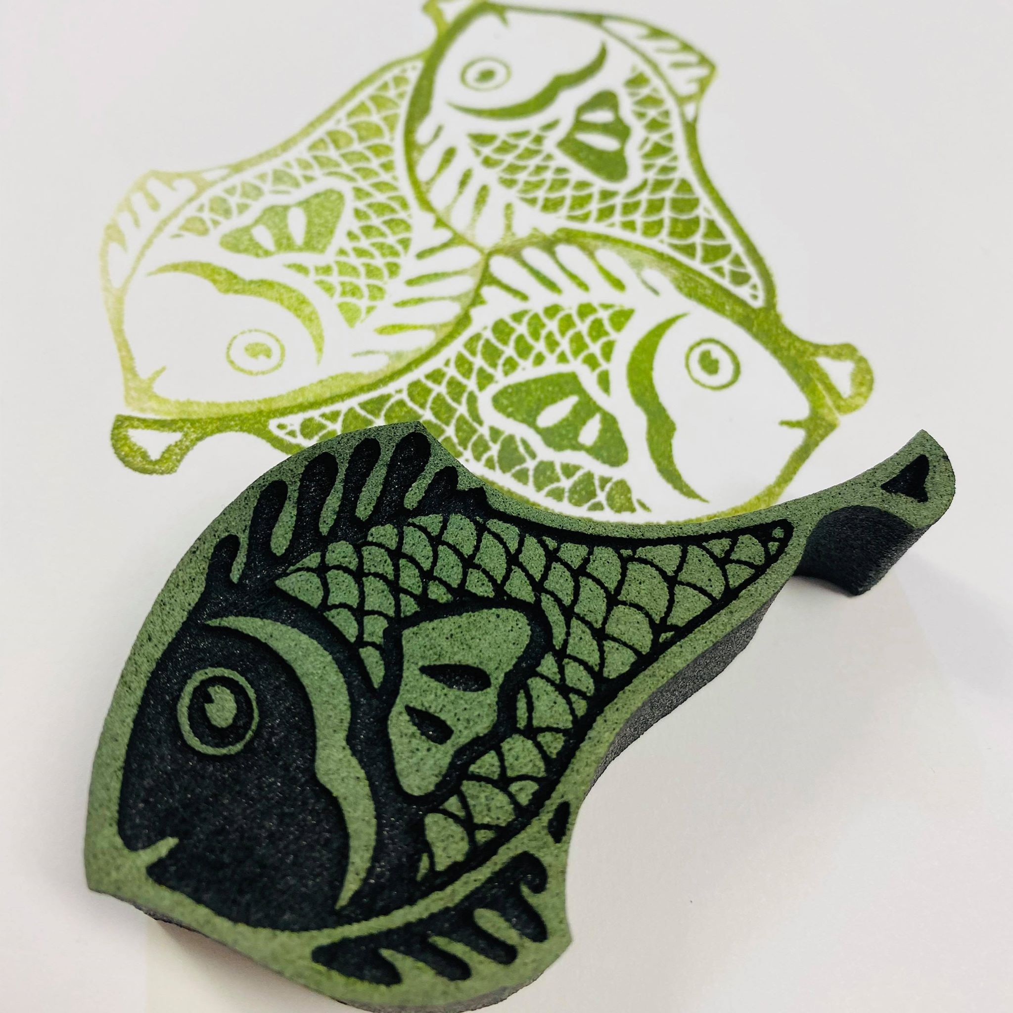 Marta Harvey | Fish Tessellation | Foam Stamp