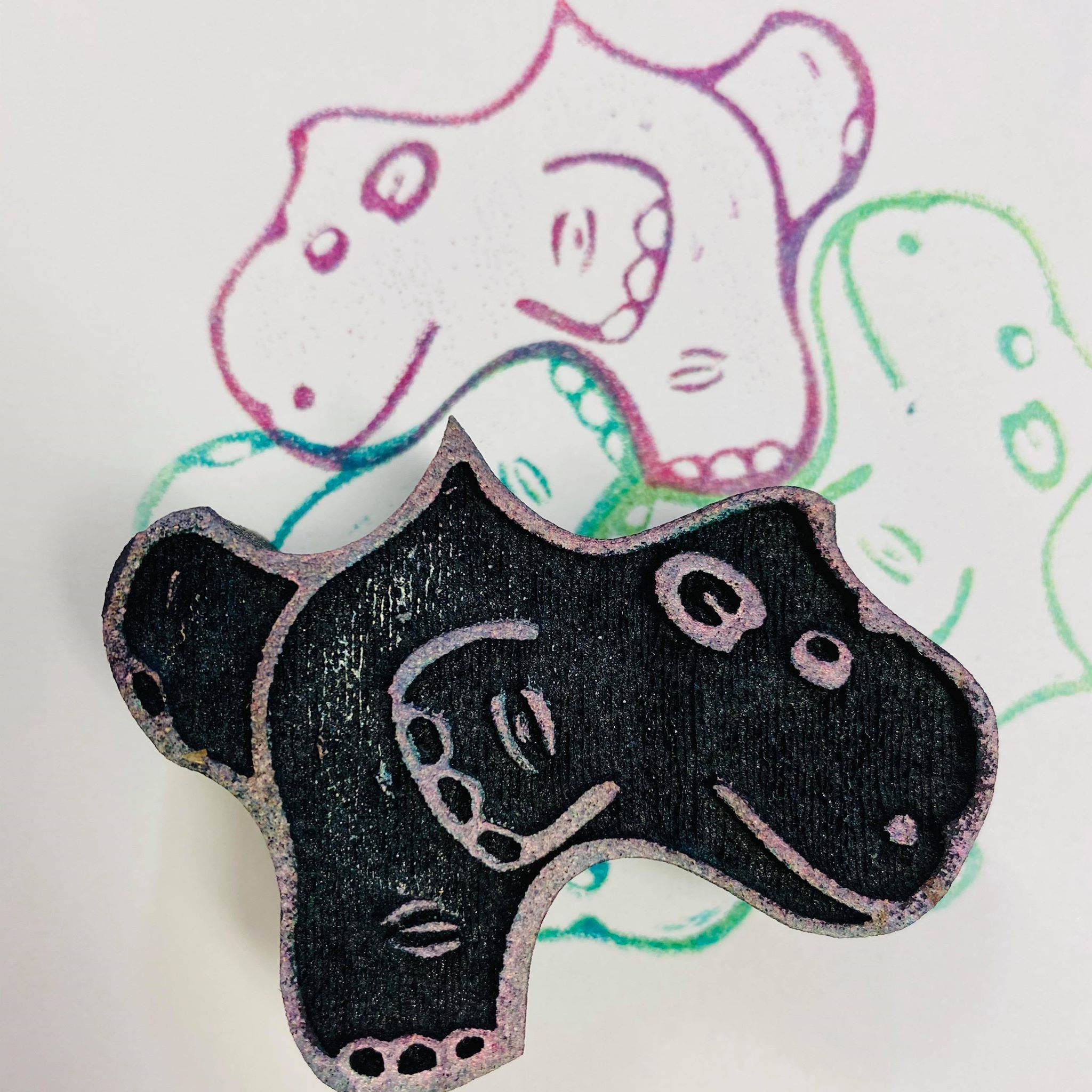Marta Harvey | Happy Hippo Tessellation | Foam Stamp