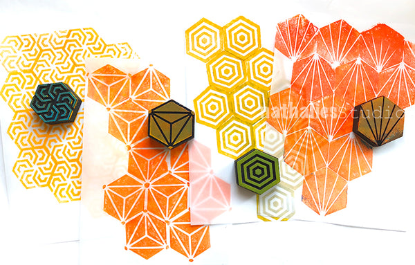 Nathalie Kalbach | Mini Hex | Foam Stamps - Set of 4