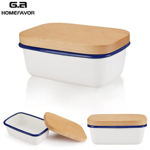 Enamel Butter Dish with Cover