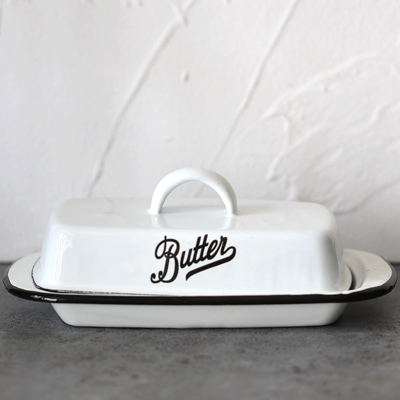 White and Black Enamelware Butter Dish