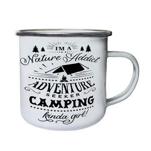 Enamel and Stainless Steel Camping Coffee Mug