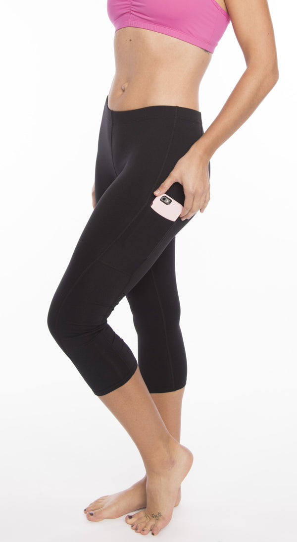 Workout Leggings Spandex Activewear Running Tights Black Calf Capri